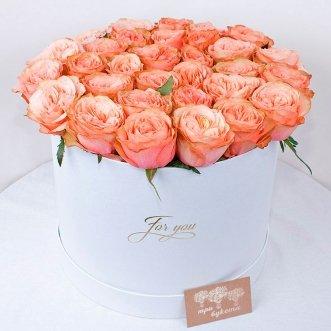 27 пионовидных роз в коробке
